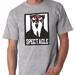 Classic Spectacle Clothing Logo embossed on a grey t-shirt